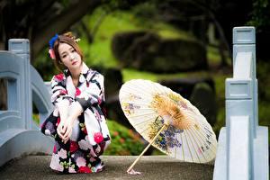 デスクトップの壁紙、、アジア人、ボケ写真、茶色の髪の女性、傘、座っ、和服、、