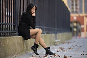 Wallpapers Asian Bokeh Brunette girl Sit Legs Wearing boots Pantyhose young woman