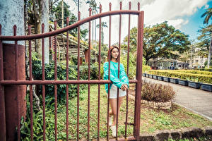 Wallpaper Asiatic Brown haired Gate Shorts female