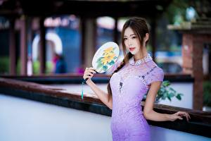 Wallpaper Asian Brown haired Staring Hand fan Gown Hands