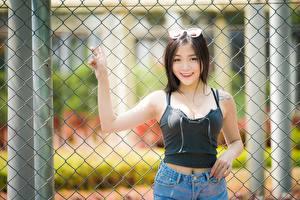 Bakgrunnsbilder Asiatisk Brunette jente Briller Blikk Smil Hender Gjerde ung kvinne