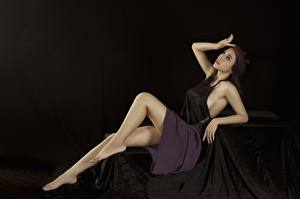 Image Asiatic Pose Legs Skirt Hands Black background female