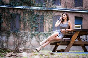 Картинка Азиаты Сидя Скамейка Ног Платье Стол молодая женщина