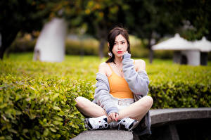 Picture Asiatic Sitting Legs Sleeveless shirt Glance young woman