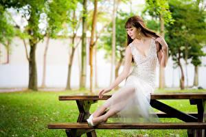 Hintergrundbilder Asiaten Tisch Bank (Möbel) Braune Haare Kleid Sitzend Bokeh Mädchens