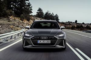 Picture Audi Moving Blurred background Front Gray Station wagon rs6 avant, 2019