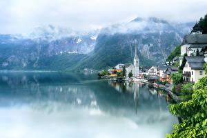 Bilder Österreich Hallstatt Berg See Alpen Wolke Lake Hallstatt Städte