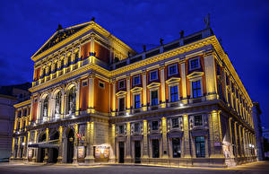 Photo Austria Vienna Houses Night Street lights Musikverein Cities
