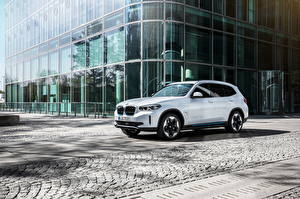 Bureaubladachtergronden BMW Witte Cross-over auto Metallic iX3, G08, Worldwide, 2020 Auto