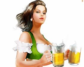 Wallpaper Beer Waitress White background Mug young woman