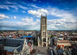 Images Belgium Ghent Houses Cathedral Sky Street Towers Clouds St Bavo's Cathedral