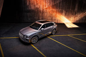 Wallpapers Bentley CUV Silver color Metallic From above Bentayga V8, Worldwide, 2020 automobile