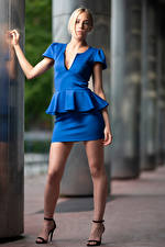 Picture Blonde girl Posing Legs Skirt Blouse Glance Camille