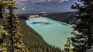 Papel de Parede Desktop Canadá Parques Lago Florestas Banff De acima Hotel lake Louise, The Fairmont Chateau Naturaleza