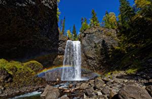 Bureaubladachtergronden Canada Park Steen Hemelgewelf Watervallen Falesia Regenboog Wells Gray Park, Moul Falls