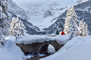 Wallpapers Canada Park Winter Bridges Mountains Banff Snow Trees Alberta, Lake Louise