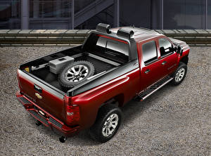 デスクトップの壁紙、、シボレー、赤、メタリック塗、ピックアップトラック、上から、Silverado HD Z71 Crew Cab Concept, 2007、自動車