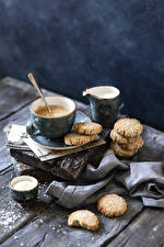 Image Coffee Cappuccino Cookies Milk Boards Cup