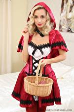 Wallpaper Dominika Jandlova Coxy Red Riding Hood Blonde girl Glance Hooded Hands Wicker basket young woman