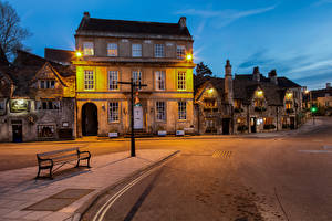Picture England Evening Building Street Bench Street lights Wiltshire, Bradford-on-Avon Cities