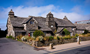 Image England Houses Made of stone Roof Tintagel, old Post office Cities