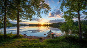 Photo Finland Forests Evening Sunrise and sunset Rivers Boats Trees River Oulujoki Nature
