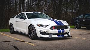 Pictures Ford White Stripes Parking Mustang Shelby GT350 automobile