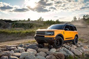 桌面壁纸,,福特汽车,石,SUV,黄色,Bronco Sport First Edition Preproduction, 2020,汽车