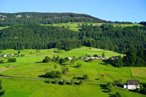Bureaubladachtergronden Bos Grasland Zwitserland Heuvels Posjolok Balsthal, Solothurn, Tal County Natuur