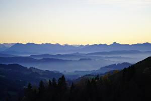 デスクトップの壁紙、、森林、スイス、丘、霧、Basel-Landschaft、自然