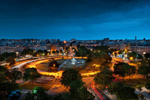 Desktop wallpapers France Building Monuments Paris Town square Night From above Place de la Nation Cities