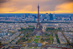 Picture France Houses Paris Eiffel Tower From above Cities