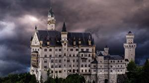 Picture Germany Castle Neuschwanstein Bavaria Towers Storm cloud Trees Nature