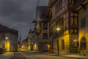 Photo Germany Building Street Night Street lights Meiningen Cities