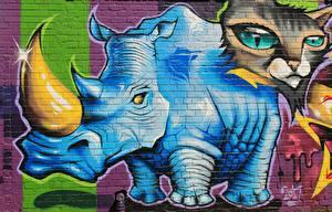Images Graffiti Rhinoceros Cat Wall Horns Animals