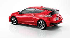 Images Honda Gray background Side Red Coupe Hybrid vehicle CR-Z, Hybrid (2010-2016) Cars