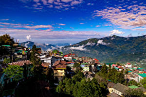 Wallpaper India Mountain Sky Houses Clouds Gangtok, Sikkim Nature