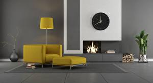 Images Interior Clock Room Design Fireplace Wing chair Lamp 3D Graphics
