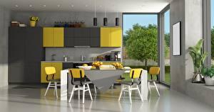 Fotos Innenarchitektur Küche Design Tisch Stuhl Fenster 3D-Grafik