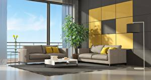 Images Interior Window Lounge sitting room Couch Pillows Design 3D Graphics