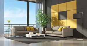 Fotos Innenarchitektur Fenster Wohnzimmer Couch Kissen Design 3D-Grafik