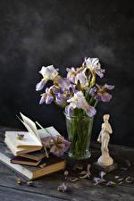 Tapety na pulpit Kosaciec Deski Wazonie Książki Płatki kwiat