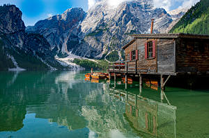 Images Italy Mountain Lake Boats Reflection Alps Lago di Braies, Dolomites