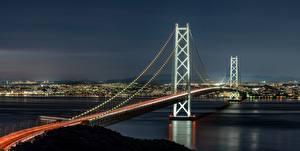 Papel de Parede Desktop Japão Ponte Noite Baía Akashi-Kaikyo Bridge, Akashi Strait Cidades