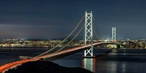 Wallpaper Japan Bridge Night Bay Akashi-Kaikyo Bridge, Akashi Strait