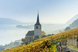 Images Lake Vineyard Church Switzerland Fog Lake Biel Nature