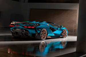 Wallpaper Lamborghini Roadster Light Blue