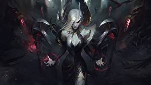 Fotos League of Legends Blond Mädchen Fan ART Morgana computerspiel Mädchens