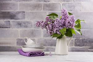 Desktop wallpapers Lilac Bouquet Vase Cup Saucer Flowers
