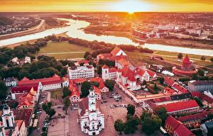 Images Lithuania Rivers Houses Castles Cathedral Kaunas Town square From above Santaka, Old Town